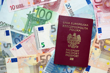 Euro banknotes and Polish passport