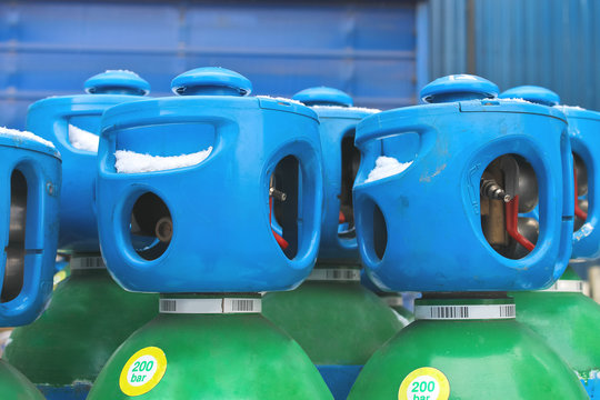 Cylinders with argon in stock industrial enterprises