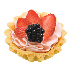 Cake basket with cream and berries, isolated