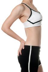 woman getting fat belly in Sports wear need to diet