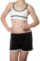 woman getting fat belly in Sports wear need to diet