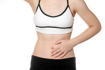 woman stomach ache in Sports wear isolated on white background