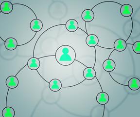Teal Social Circles Network Backdrop Image