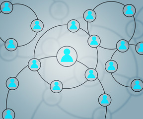 Blue Social Circles Network Backdrop Image