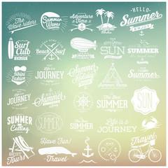 Summer typography label designs