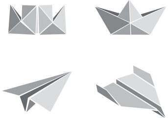 Origami paper boats and planes