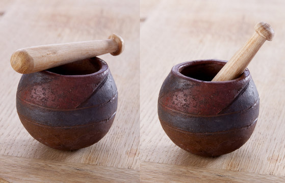 Traditional Moroccan pestle and mortar diptych