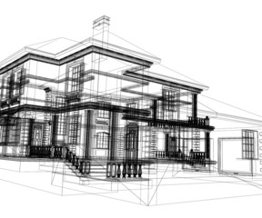 Abstract modern building. 3d render on white background