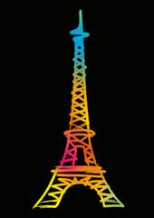 Tour Eiffel_Couleur_Fond Noir