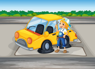 A girl holding a tool beside a car with a flat wheel