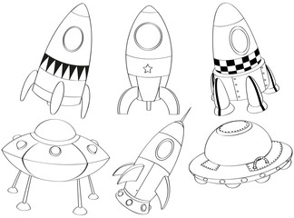 Silhouettes of the different spaceships
