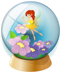 Foto op Aluminium Feeën en elfen A flower fairy inside the crystal ball