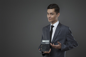 guy and calculator