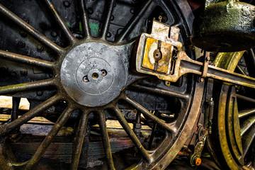 Closeup train wheel on the railway