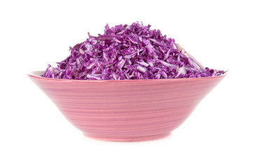 a salad of red cabbage in a bowl