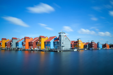 Fototapete - colorful buildings at Reitdiephaven, Groningen