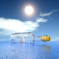 Luxury yacht in the bottle. Concept - protection of travel.