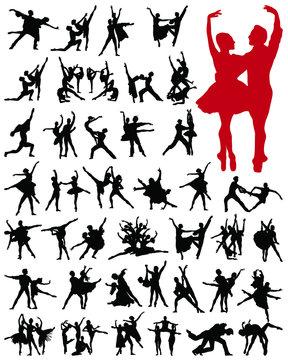 Ballet female dancers vector silhouettes