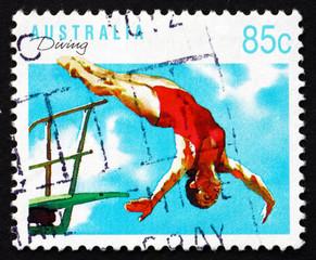 Postage stamp Australia 1991 Diving, Australian Sport