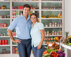 Couple Standing In Grocery Store