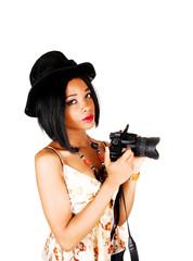 Pretty girl with camera.