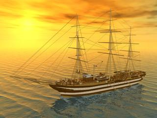 Segelschiff vor Sonnenuntergang