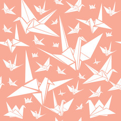 Seamless pattern with paper cranes