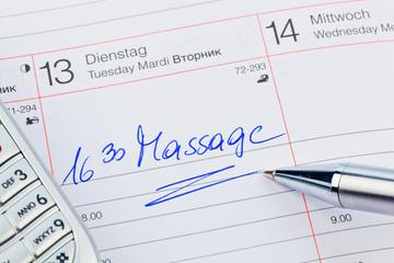 Eintrag im Kalender: Massage
