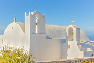 Wall Mural - Greece Santorini island in Cyclades,wide view of white orthodox