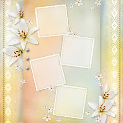Wedding  background with flowers for congratulations and invitat