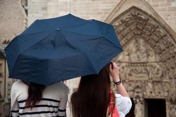 Touriste sous la pluie à Notre-Dame de Paris