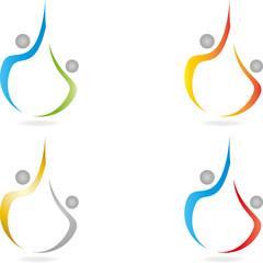 Logo, 3D, Menschen, Paar, Mann, Frau