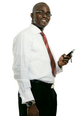 A young african american businessman with a cellphone