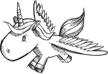 Sketch Doodle Unicorn Pony Vector