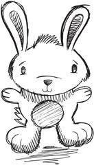 Bunny Rabbit Doodle Sketch Vector Illustration Art
