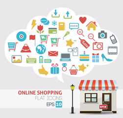 online shopping vector - online store icons