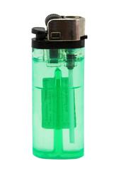 green lighter isolated in white back
