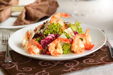 fresh salad with shrimps and lettuce