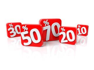 Rabattaktion - Prozente in 3D Schrift