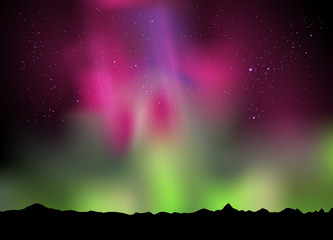 illustration of the northern lights aurora in the sky