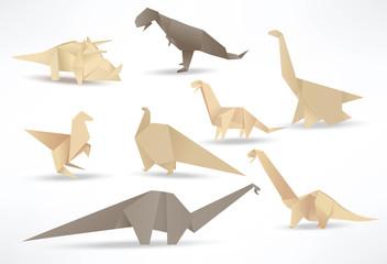 Origami dinosaurs (sepia tone)