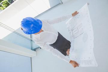 Overhead of an architect holding a blueprint