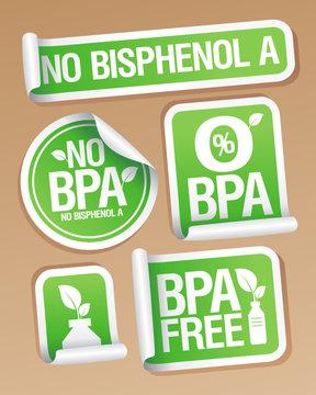 Bisphenol A (BPA) free products stickers set