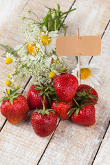 Fresh strawberry. Empty tag for your text.