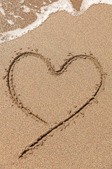 heart drawing on the beach