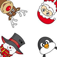 Christmas card. Santa, reindeer, snowman and penguin
