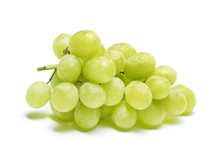 white grapes with drops of water, isolated on white with shadow.