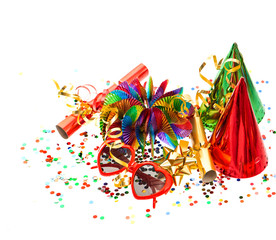 decoration with garlands, confetti and party accessories
