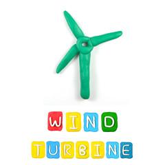 Color children's wind turbine  plasticine on a white background