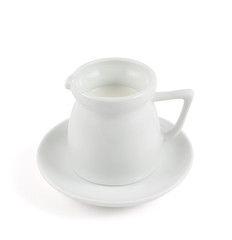 Milk pitcher white ceramic ewer isolated